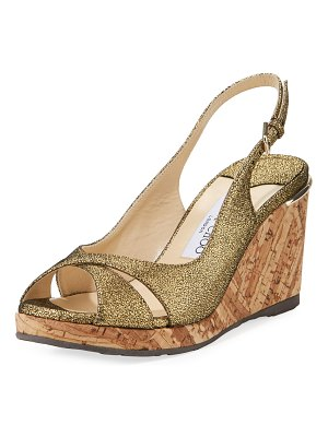 Jimmy Choo Amely 80mm Crackled Leather Cork Wedge Sandal