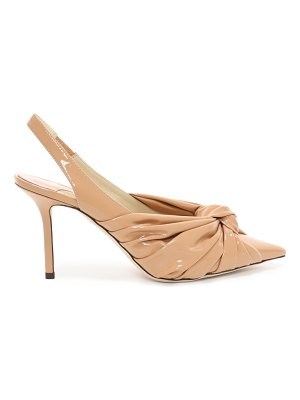 Jimmy Choo ANNABELL 85 Caramel Soft Patent Leather Sling Back Closed Toe Pumps