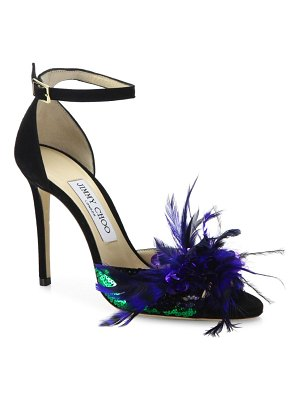Jimmy Choo Annie Sequin & Feather-Embellished Suede Ankle-Strap Sandals