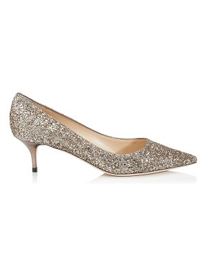 Jimmy Choo AZA Antique Gold Shadow Coarse Glitter Fabric Pointy Toe Pumps