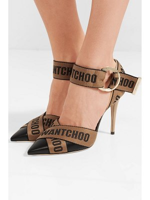 Jimmy Choo bea 100 logo-woven canvas and leather pumps