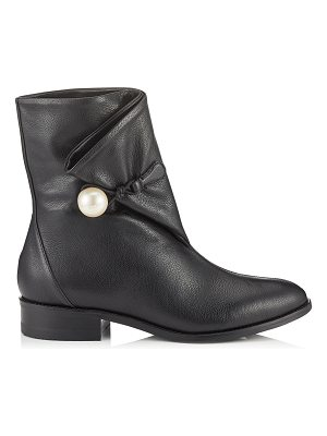 Jimmy Choo BEATRICE FLAT Black Grainy Leather Booties with Pearl Detailing