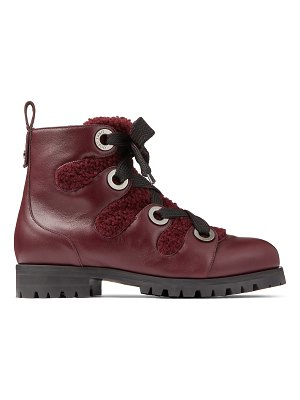 Jimmy Choo BEI FLAT Bordeaux Smooth Leather Ankle Boots with Shearling Lining and Metal Eyelets