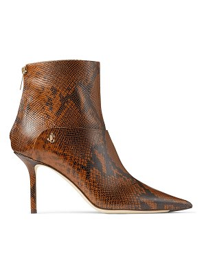 Jimmy Choo BEYLA 85 Cuoio Snake Printed Leather Ankle Booties with JC Button Detailing