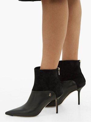 Jimmy Choo beyla 85 suede and leather point toe ankle boots