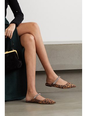 Jimmy Choo bing crystal-embellished leopard-print suede point-toe flats