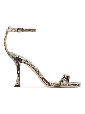 Jimmy Choo black and taupe snake marin 90 heeled sandals