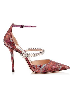 Jimmy Choo BOBBIE 100 Rosewood Mix Painterly Brocade Pointy Toe Pumps with Crystal Strap