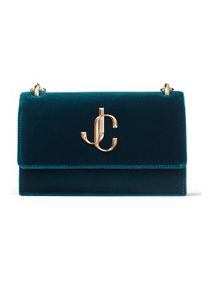Jimmy Choo BOHEMIA Dark Teal Velvet Clutch Bag with Chain Strap