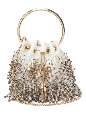 Jimmy Choo bon bon bead-fringed satin clutch
