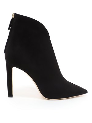Jimmy Choo BOWIE 100 Black Suede Pointed Toe Booties with Plexi Insert