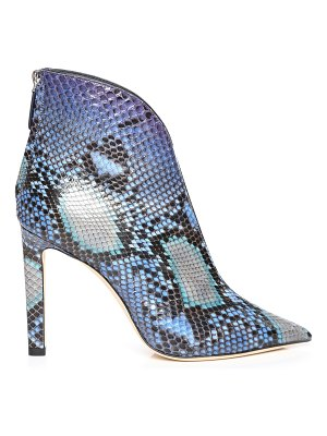 Jimmy Choo BOWIE 100 Sky Mix Dégradé Painted Python Pointed Toe Booties with Plexi Insert
