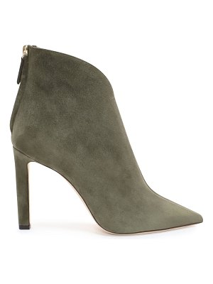 Jimmy Choo BOWIE 100 Vine Suede Pointed Toe Booties with Plexi Insert