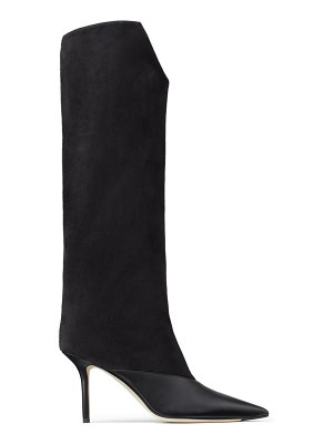 Jimmy Choo BRELAN 85 Black Calf Leather and Suede Knee-High Boots