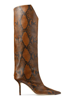 Jimmy Choo BRELAN 85 Cuoio Snake Printed Leather Knee-High Boots