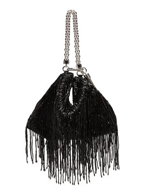 Jimmy Choo callie bead-fringed satin clutch bag