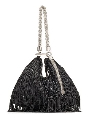 Jimmy Choo CALLIE Black Satin Clutch Bag with Beaded Fringe Embroidery