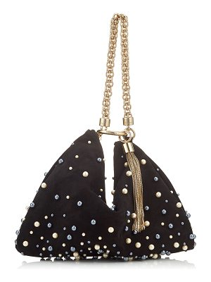 Jimmy Choo CALLIE Black Mix Suede Clutch Bag with Pearl Detailing