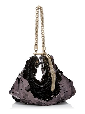 Jimmy Choo CALLIE Black Velvet Clutch Bag with Maxi Paillette Embroidery