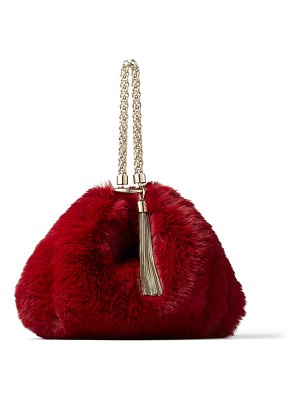 Jimmy Choo CALLIE Bordeaux Faux Fur Clutch Bag