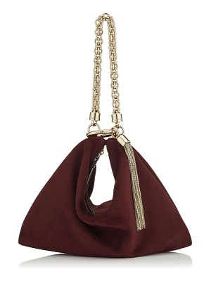Jimmy Choo CALLIE Bordeaux Suede Clutch Bag with Chain Strap