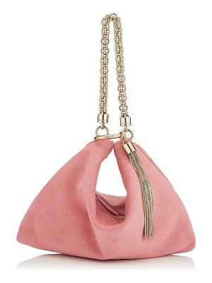 Jimmy Choo CALLIE Candyfloss Suede Clutch Bag with Chain Strap