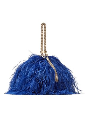 Jimmy Choo CALLIE Cobalt Clutch Bag with Ostrich Feathers