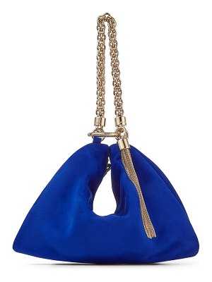 Jimmy Choo CALLIE Cobalt Suede Clutch Bag with Chain Strap