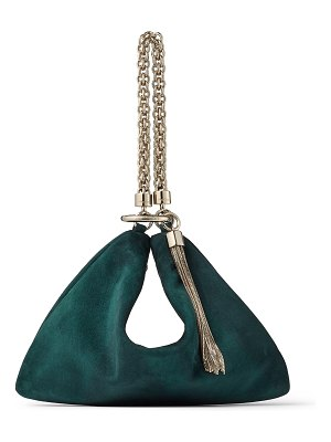 Jimmy Choo CALLIE Dark Teal Suede Clutch Bag with Chain Strap