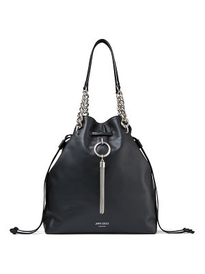 Jimmy Choo CALLIE DRAWSTRING/L Black Smooth Leather Bucket Bag with Chain Strap