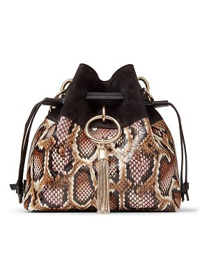 Jimmy Choo CALLIE DRAWSTRING/S Blush Mix Glossy Printed Elaphe and Black Suede Bucket Bag with Chain Strap