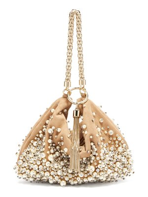 Jimmy Choo callie faux pearl embellished suede clutch