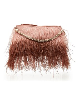 Jimmy Choo callie leather and feather top handle bag
