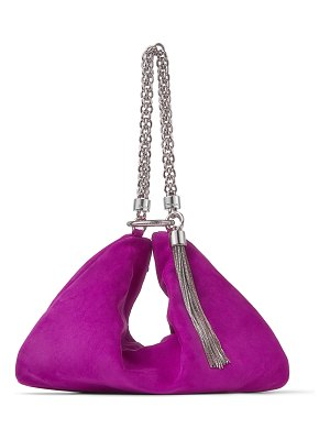 Jimmy Choo CALLIE Magenta Suede Clutch Bag with Chain Strap