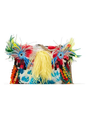 Jimmy Choo CALLIE Multicolour Clutch Bag with Feathers and Chain Strap