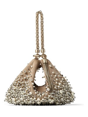 Jimmy Choo CALLIE Nude Suede Clutch Bag with Dégradé Pearl Embroidery