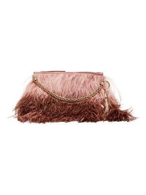 Jimmy Choo callie ombré feather clutch bag
