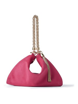 Jimmy Choo CALLIE Pink Suede Clutch Bag with Chain Strap