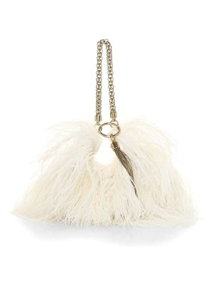 Jimmy Choo callie tassel feather-trimmed leather clutch