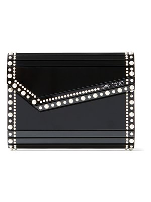 Jimmy Choo CANDY Black Acrylic Clutch Bag with Pearl Studs