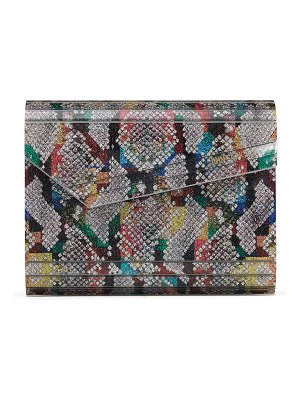 Jimmy Choo CANDY Multicolour Python Print Fine Glitter Acrylic Clutch Bag with Chain Strap