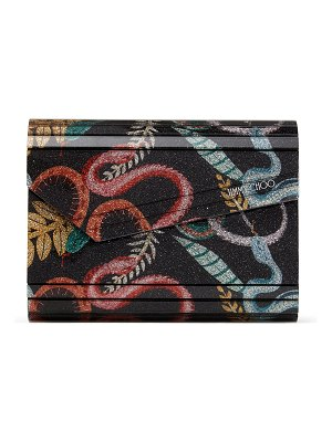 Jimmy Choo CANDY Multicolour Serpent Print Fine Glitter Acrylic Clutch Bag