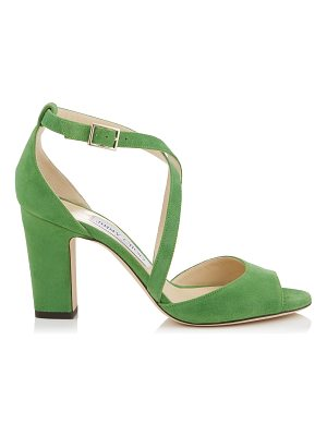 Jimmy Choo CARRIE 85 Lime Suede Peep Toe Sandals