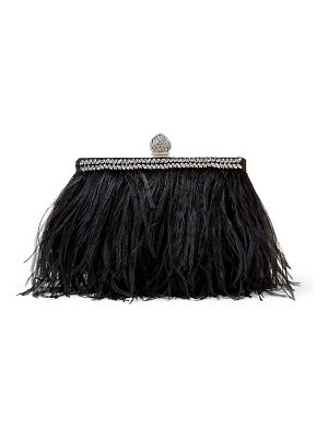 Jimmy Choo CELESTE/S Black Satin Clutch Bag with Ostrich Feathers, Crystals and Dome Clasp