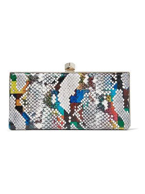 Jimmy Choo CELESTE/S Multicolour Glossy Rainbow Elaphe Clutch Bag with Cube Clasp