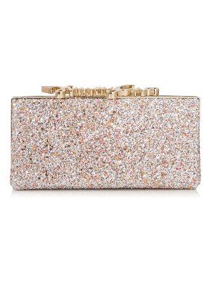 Jimmy Choo CELESTE/S Viola Mix Speckled Glitter Clutch Bag with Crystal Clasp