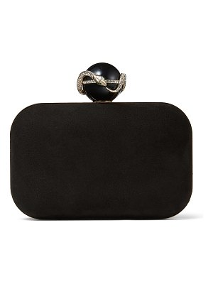 Jimmy Choo CLOUD Black Suede Clutch Bag with Serpent Ball Clasp