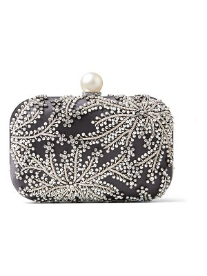 Jimmy Choo CLOUD Dusk Satin Clutch Bag with Pearl and Crystal Embroidery