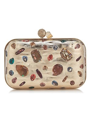 Jimmy Choo CLOUD Gold Metal Clutch Bag with Mixed Swarovski Crystal Stones