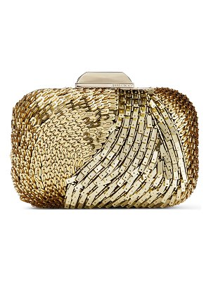 Jimmy Choo CLOUD Gold Suede Clutch Bag with Geometric Mirror Embroidery